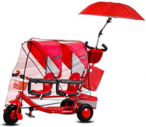 Knoijijuo Triciclos Doble Niños Triciclo De Carga Peso 100 Kg 1-6 Años De Regalo De Cumpleaños De Los…