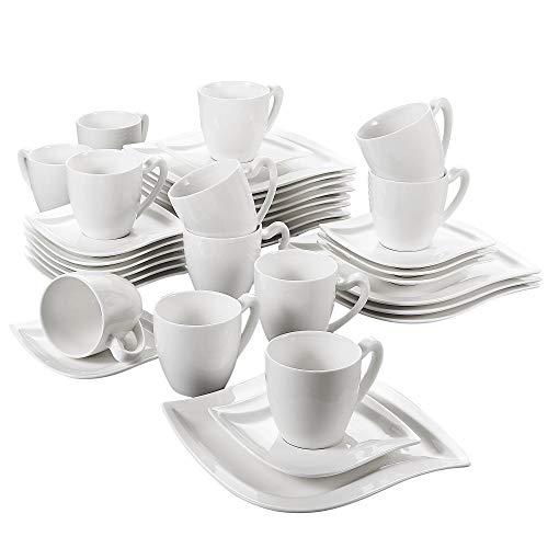 MALACASA, serie Elvira, Juegos de café, 36 piezas vajillas de porcelana 12...