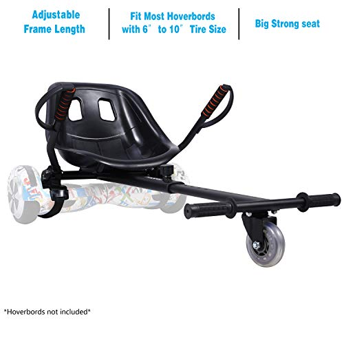 """yabbay Hover Go Karts Attachment con Seggiolino Grande da Corsa e Ruota Durevole- Overkart Compatibile con Hoverbords 6.5"""", 8"""", 10"""""""