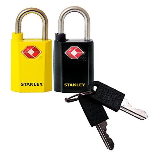 Stanley 81181393401 Combo di Lucchetti TSA in Zinco, 20 mm, Nero/Giallo