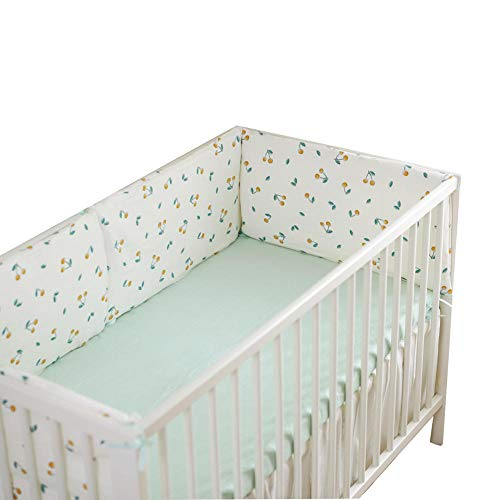 YWXJY Baby Gauze Crib Bumper Pads Machine Washable Autumn & Winter, Toddler Bedding Set Boys Girls, Bed Fence Padding Rail Guard Cover, Cot Sleep Bumper Pillow Anti-Collision-Cherry_4 Sides Cover