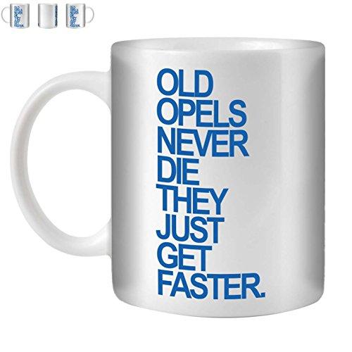 Stuff4 Tee/Kaffee Becher 350ml/Opel/Blue Text/Alte Autos/Weißkeramik/ST10