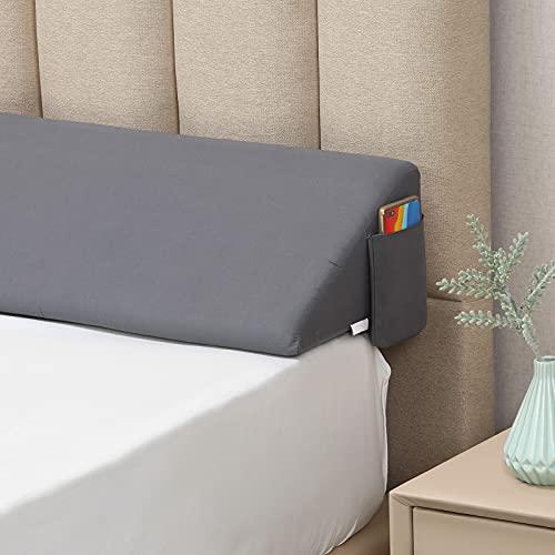 """Vekkia Cal King(72""""x10""""x8"""") Bed Wedge Pillow/Headboard Pillow/Mattress Wedge,Gap Filler to Close The Gap (0-7'') Between Headboard and Mattress (Gray)"""