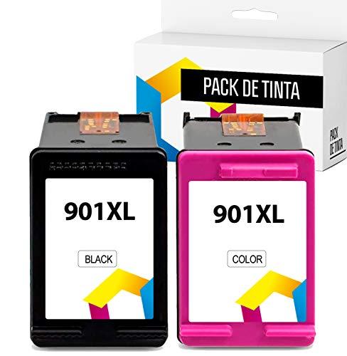 TONERPACK HP 901XL, Cartuchos de Tinta compatibles con HP 901 XL, Alta Capacidad, para Las impresoras de inyección de Tinta HP Officejet All-in-One 4500, J4580, J4680 (1 Negro + 1 Tricolor)