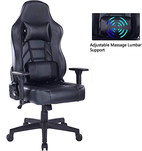 HEALGEN Reclining Gaming Chair with Adjustable Massage Lumbar Pillow and Footrest- Memory Foam PC...