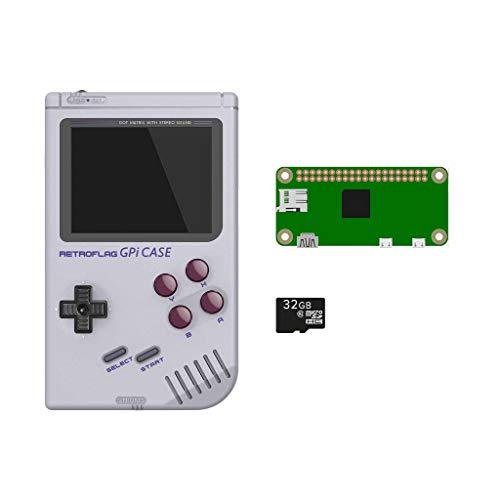 DroiX RETROFLAG GPi Estuche con/Raspberry Pi Zero W y Tarjeta microSD de 32GB Sistema portátil portátil de Juegos Retro