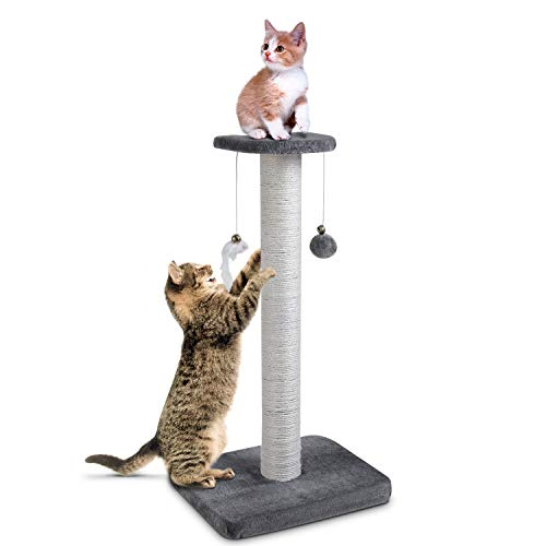pedy 30' Tall Cat Scratching Post, Natural Sisal Cat Scratcher, Cat Scratch Tower with Two Interactive Bell Toys (Cat Scratching Post)
