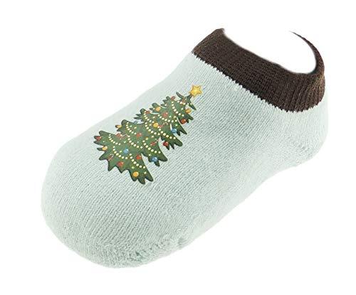Festive Chaussettes d'hiver confortables et extensibles pour bébé filles garçons 6–18 mois (arbre bleu clair)