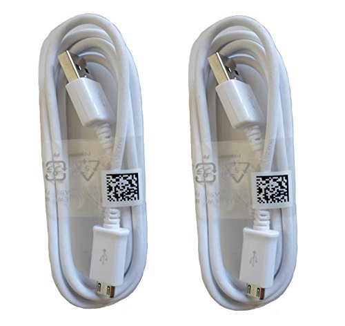 Samsung Micro USB Charging Data Cable for Galaxy S3/S4/Note 2, 2 Pack - Non-Retail Packaging - White