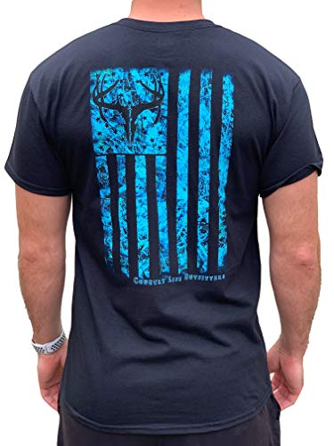 Country Life Outfitters Blue Camo American Flack Black Mens Short Sleeve T-Shirt (X-Large)