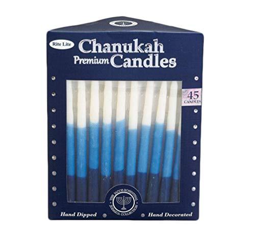 Rite Lite Premium Chanukah Candles- Pack of 45 Hanukkah (Blue/White Tri-Color)