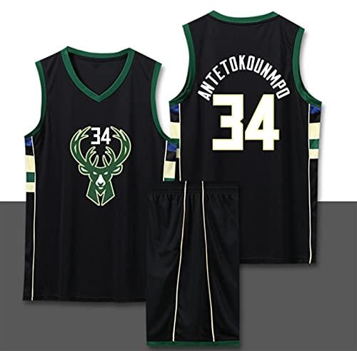 Nealpar Hombres Bucks Jersey NBA Champion Retro Jersey Bucks # 3 Mesh Swinger Basketball Jersey,Black,XL