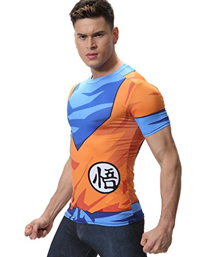 Cody Lundin Homme T-Shirts Fashion Dragon Ball Sport Fitness Strong Men's Outdoor Hauts (Orange, L)