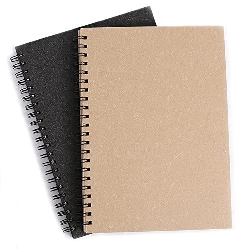 Cuadernos de Dibujo, A4 Espiral Bloc de Notas en Blanco del Diario de Viaje de Bocetos de Tapa Dura Para oficina, estudiantes, útiles escolares, 90 Páginas, 2pcs