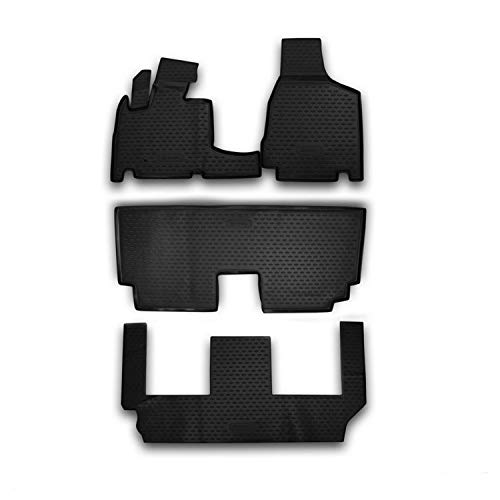 OMAC Complete Custom Fit Liner Set   All Weather Performance 3D Molded Black Rubber Car Floor Mats   Fits 7 Seat Chrysler Town & Country 2008-2016
