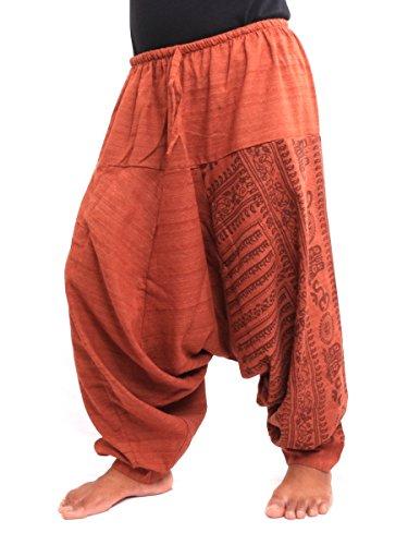 Jing Shop Aladdin Harem Drawcord Baggy Pants Traditional Print Cotton Mix Orange,One Size