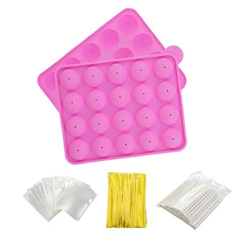 Rigrer Stampo per Cake Pop in Silicone Senza BPA con 100 Bastoncini + 100 Sacchetti per dolcetti + 100 Fascette in Giallo, Ideale per Caramelle, Lecca-Lecca, Cake Pop e Cupcake