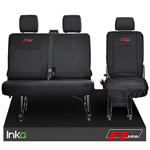 Inka - Fundas de asiento trasero impermeables con bordado para VW TRANSPORTER T6.1, T6, T5.1 Kombi Van MY 2010-2020 (7 colores a elección), color rojo