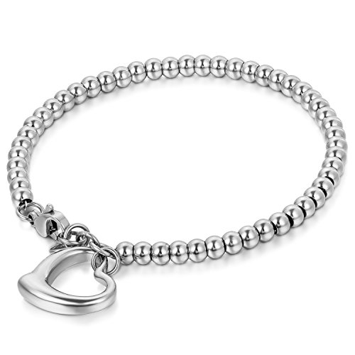 JewelryWe Schmuck Charme Damen Kugel Perlen Armband,Handgelenk Kugel Perlenkette mit Herz Anhänger, Edelstahl Armreif, Silber