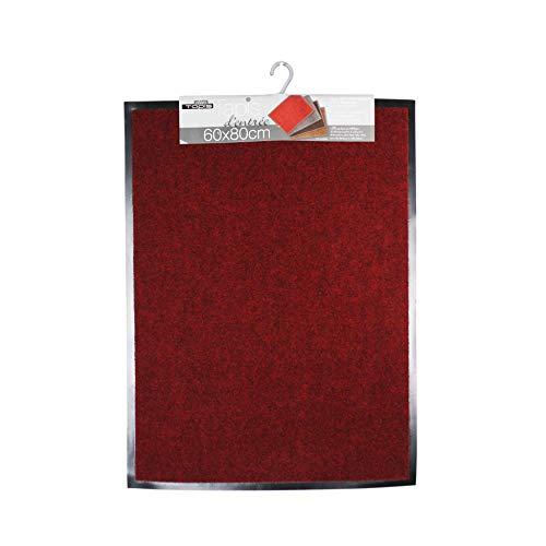 douceur d'intérieur tapis d'entree rectangle 60x80 cm anti-poussiere telio rouge