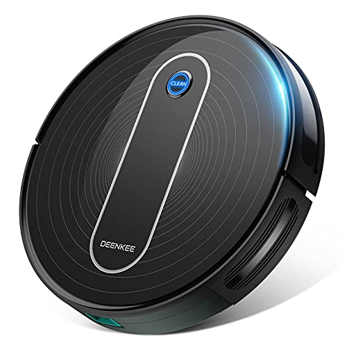 """Robot Vacuum, Deenkee 2.75"""" Slim 1500PA Strong Suction Robotic Vacuums, Self-Charging Robot Vacuum Cleaner, 100 Mins Runtime 6 Cleaning Modes Quiet Auto Cleaning Robot for Pet Hair Carpet Hard Floor"""