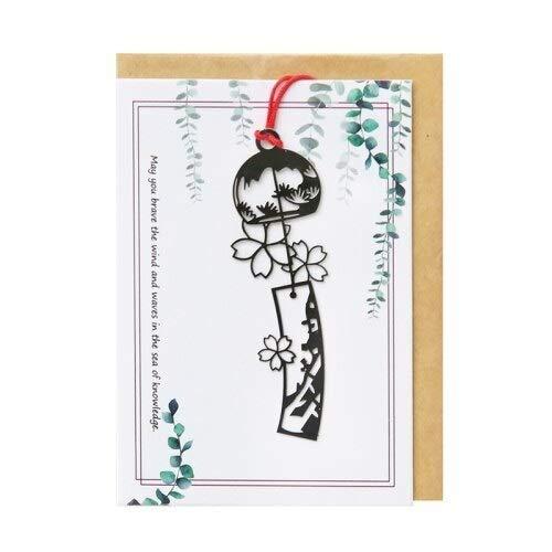 ZYJ Segnalibro Stile Giapponese del Vento cavità del Metallo Wind Chime Bookmark Bella Romantico Cherry Blossom cancelleria Fai da Regalo Greeting Card Alimentazione Segnalibri