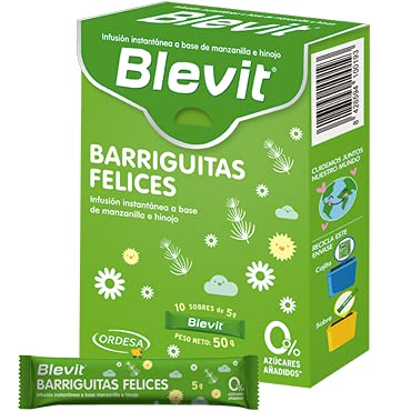 Blevit Barriguitas Felices - Infusión en Monodosis con Manzanilla e Hinojo - Sin Gluten y Sin Azúcares Añadidos - Para bebés y Niños en Edad Escolar - 10 sobres