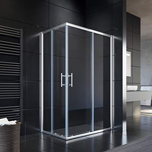 SONNI Duschkabine 120x90cm Eckeinstieg Doppel Schiebetür Echtglas Duschwand Duschtür Duschabtrennung