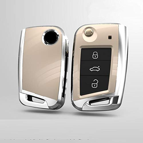 MWBLN Funda para llave de coche, con 3 botones, para Seat León, Ibiza CUPTRA para Skoda Octavia Combi, para Volkswagen Polo 2016, Golf 7 MK7, cubierta dorada