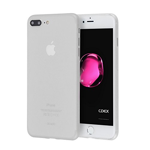 doupi UltraSlim Hülle kompatibel für iPhone 8 Plus / 7 Plus (5,5 Zoll), Ultra Dünn Fein Matt Oberfläche Handyhülle Cover Bumper Schutz Schale Hard Case Taschenschutz Design Schutzhülle, weiß