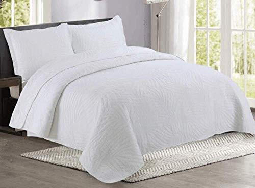 Couvre lit blanc Matelasse/Dessus de lit Boutis 2 Personnes Jeté de Lit en Coton 100% Couverture Doubles Grande Décoration 3 Pieces,White-queen:250X270CM