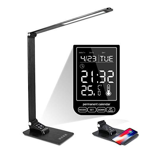 AIMCAE Lampara de Mesa led, QI Pantalla de Temperatura de Calendario de Carga rápida inalámbrica con Reloj Despertador Plegable Luz de Lectura