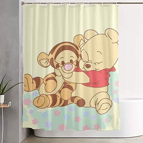 pingshang Lustiger Stoff-Duschvorhang Winnie The Pooh mit Tiger wasserdichtes Badezimmer-Dekor mit Haken 60 x 72 Zoll
