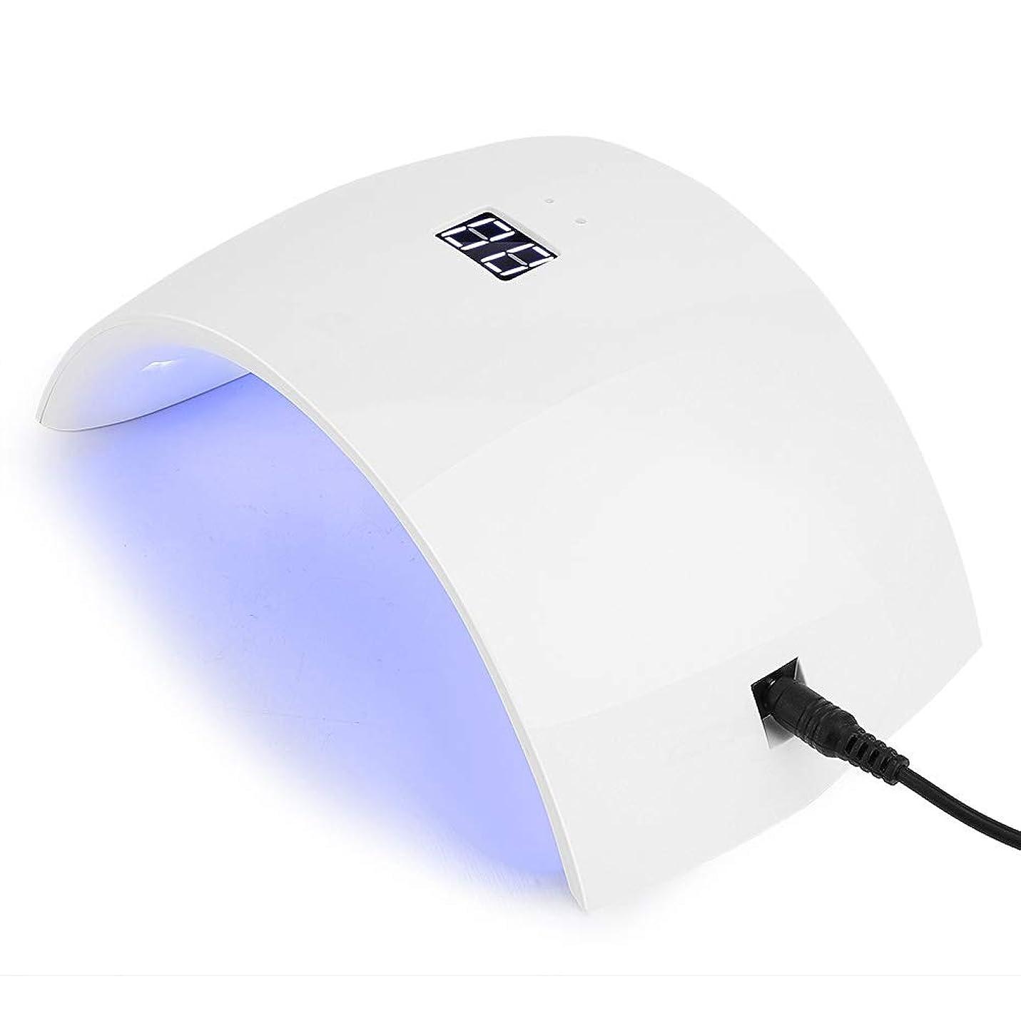 ポータブル強制艶紫外線LEDネイルランプ 24Wネイルドライヤー12光 自動センサー タイマー付き UV LEDネイルランプ 硬化ネイルアートツール硬化マニキュアusb充電(1)