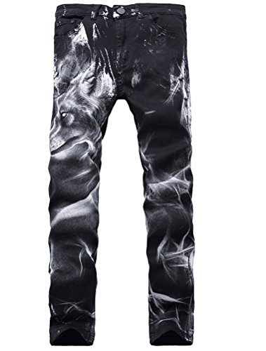 Lavnis Men's Black Printed with Skull Wolf Head Distressed Ripped Long Straight Slim Fit Skinny Jeans Pants Style 2-Black-29