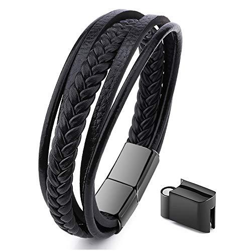 Jewellbox - Pulsera ajustable de 21 a 22,5 cm de piel auténtica para hombre en color negro con cierre magnético de cuerda multicapa estilo pulsera