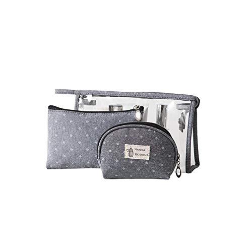 3PCS / Set Fashion Marque cosmétiques Sacs Waterproof Portable Trousse Femmes PVC Sac Voyage Sac de Toilette (Color : Gray)