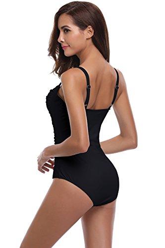 SHEKINI Mujer Ajustable Traje de baño Relleno Bañador Arruga de una Pieza Push up Malla (Large, Negro)