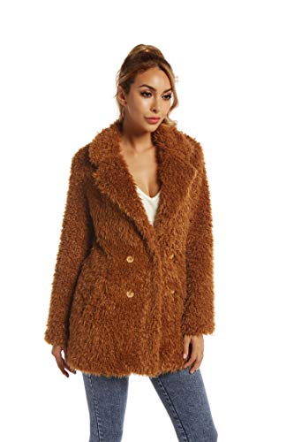 Elegant Faux Fur Coat Women Autumn Winter Warm Open Front Jacket Cardigan Overcoat Casual Outerwear M