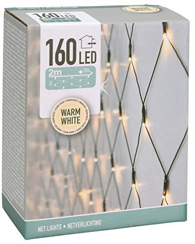 Spetebo LED Lichternetz mit 160 LEDs - warmweiß - für Innen und Außen - 200 x 100 cm