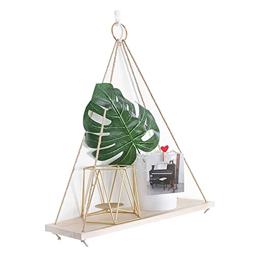 Estantería flotante de madera con cuerda de yute para especias, para cocina, salón o dormitorio (1 nivel)