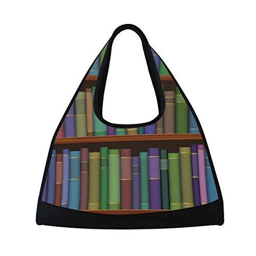 TIZORAX biblioteca ripiani con vecchi libri, borsone da viaggio palestra borsa a tracolla