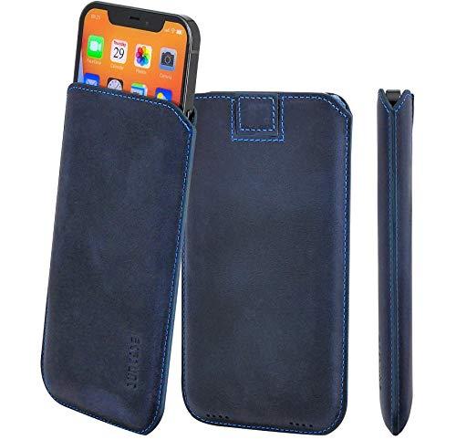 Suncase Funda de piel original compatible con iPhone 12 Pro Max (6,7 pulgadas), color azul
