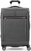 Travelpro Platinum Elite-Softside Expandable Spinner Wheel Luggage, Vintage Grey, Checked-Medium 25-Inch