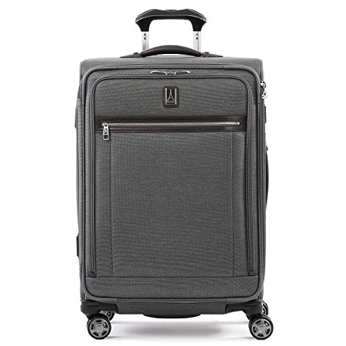 Travelpro Platinum Elite-Softside Expandable Spinner Wheel Luggage, Vintage Grey, Checked-Medium 25-Inch