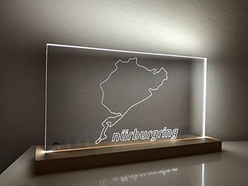 Lampe Nürburgring Gesamtstrecke mit offiziellen Nürburgring Schriftzug Layout 2 von Racetrackart