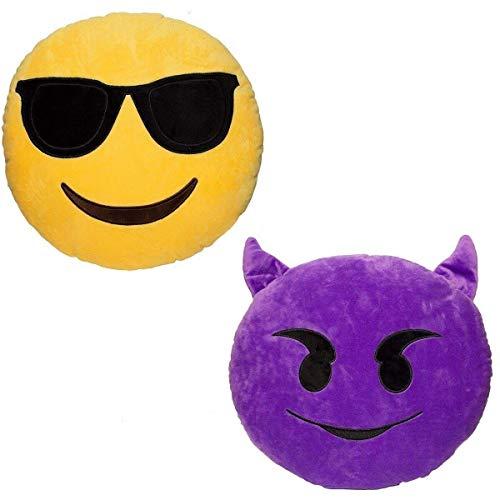 JZK 2 x Cojín Emoji Diablo + cojín Emoji Gafas de Sol Sonriente,Almohada Emoji Emoticon Relleno Suave Juguete de Peluche