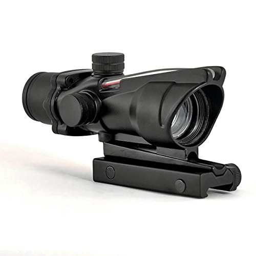 CL-SPORTS Alrebeto ACOG Type 1X32 Tactical Green or RED Dot Sight Real Green Fiber Optic Riflescope (Red Dot)
