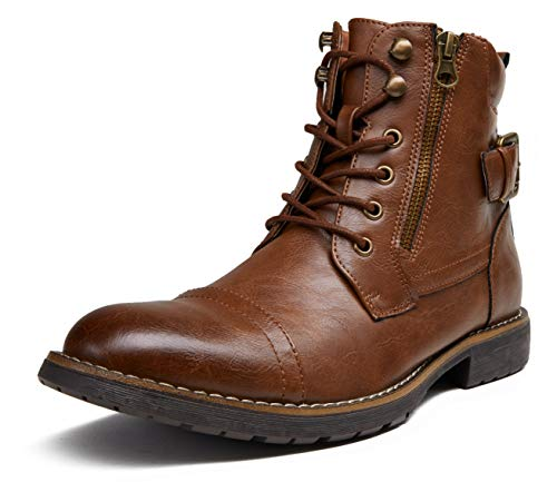 VOSTEY Men's Boots Casual Dress Boots for Men Brown Boots Mens Motorcycle Combat Ankle Boot (BMY678A Dark Brown 10.5)