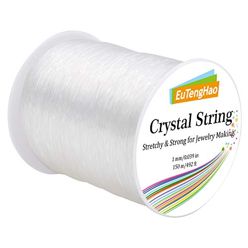EuTengHao 1mm Crystal String Elastic String for Bracelets,150m/492ft Clear Stretchy String for Bracelets,Beads Stretch Cord for Jewelry Making,Stretchy Bracelet Cord Bead String Elastic Beading String
